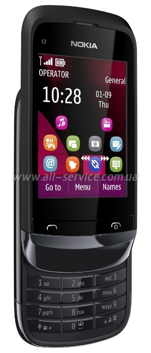 Мобильный телефон Nokia C2-03 Touch and Type Dual Sim Black Chrome