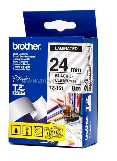 Лента Brother 24mm Laminated clear, Print black TZ151