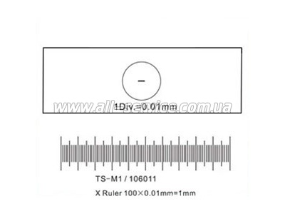 Калибровочная линейка SIGETA X 1мм/100 Div.x0.01мм