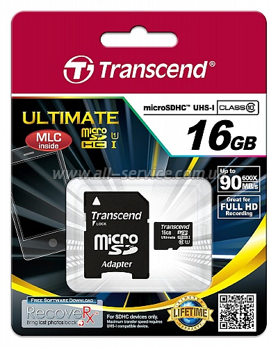 Карта памяти 16GB TRANSCEND microSDHC Class 10 UHS-I UltimateX600 + SD адаптер (TS16GUSDHC10U1)