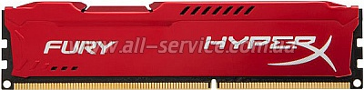 Память 4Gb KINGSTON HyperX OC DDR3, 1866Mhz CL10 Fury Red Ret (HX318C10FR/4)