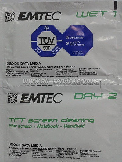 Салфетки EMTEC Screen Cleaning TFT/ PDA/ LCD, 1штука (EKNLINDUO/1)