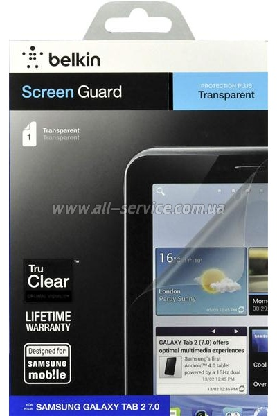 �������� ������ Galaxy Tab2 7.0 Belkin Screen Overlay CLEAR (F8N839cw)
