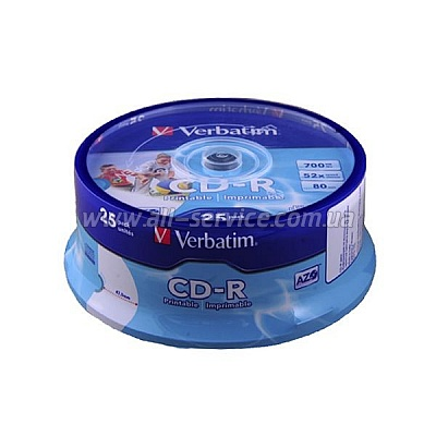 CD-R Verbatim 700 MB/80 min 52x (25 pcs Cake Box, 43439) Printable