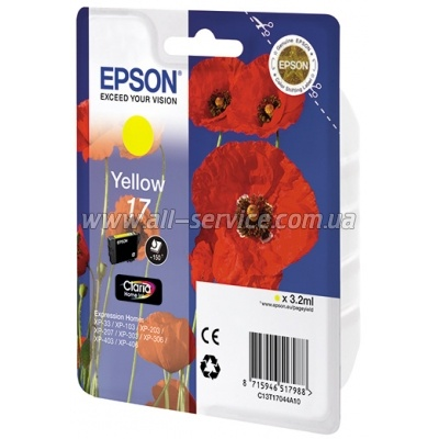 Картридж Epson 17 XP103/ 203/ 207 yellow (C13T17044A10)