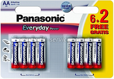 Батарейка Panasonic EVERYDAY POWER AA BLI 8 (6+2) ALKALINE (LR6REE/8B2F) (цена за упаковку)
