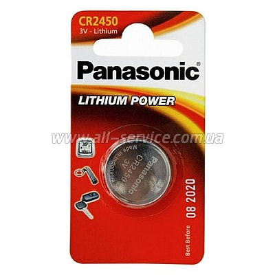 Батарейка Panasonic CR 2450 BLI 1 LITHIUM (CR-2450EL/1B)