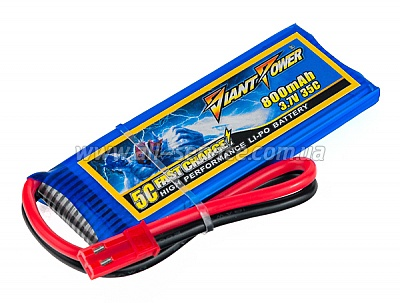 Аккумулятор Giant Power Li-Pol 800mAh 3.7V 1S 35C 6.5x25x65мм JST