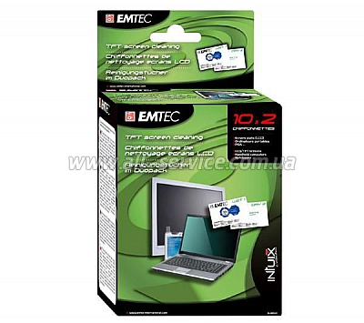 Салфетки EMTEC Screen Cleaning TFT/ PDA/ LCD упаковка 10штук (EKNLINDUO)