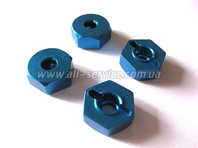 (02134) Blue Alum Wheel Hex Mount 4P
