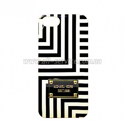 Чехол MICHAEL KORS Abstract Lines Case for iPhone 5/5S/SE White/Black (MK-ABLN-WHBK)