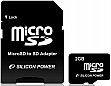 ����� ������ 2GB SILICON POWER microSD + SD ������� (SP002GBSDT000V10-SP)