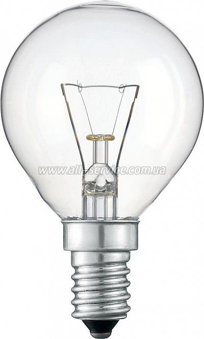 Лампа накаливания Philips E14 60W 230V P45 CL 1CT/10X10F (926000005064)