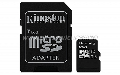 Карта памяти 8GB Kingston microSDHC C10 UHS-I (SDCIT/8GB)