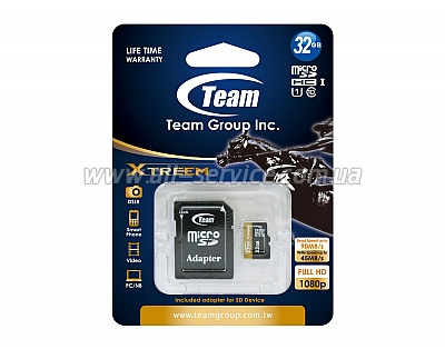 Карта памяти 32GB TEAM GROUP Class 10 UHS|U1 microSDHC+SD adapter (TUSDH32GU9003)