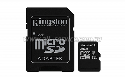 Карта памяти 8GB Kingston microSDHC Class 10 UHS-I + SD адаптер (SDC10G2/8GB)