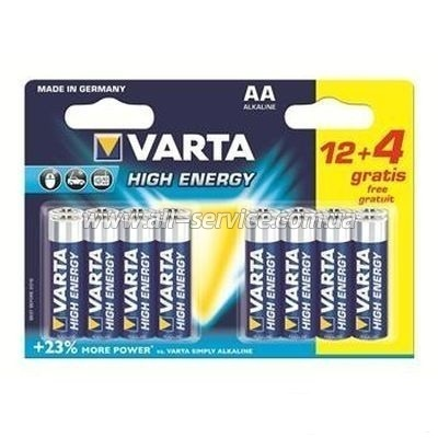 Батарейка VARTA HIGH Energy AA BLI 16 (12+4) ALKALINE (4906609416)