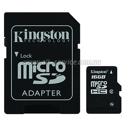 Карта памяти 16GB KINGSTON microSDHC (SDC2/16GB)