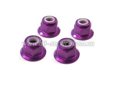 (02190) M4 Purple Alum Nut 4P