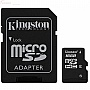 Карта памяти 16GB KINGSTON microSD Class 4 + SD адаптер (SDC4/16GB)