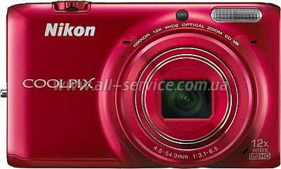 Цифровой фотоаппарат  NIKON Coolpix S6500 Value Kit Red (VNA272KG01)