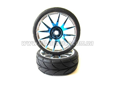 Blue Chrome Rim & Tire Complete (82827PB+82828) 2P
