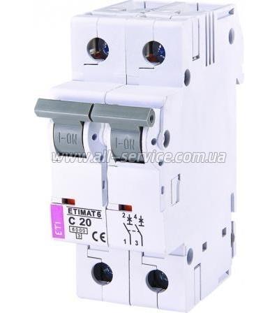 Автоматический выключатель ETI ETIMAT 6 2p С 20А (6 kA) (2143517)