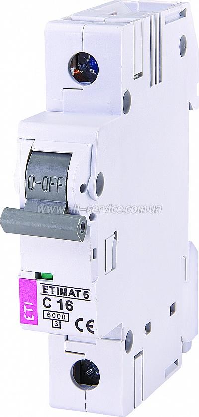 Автоматический выключатель ETIMAT 61p С 16А 6 kA (2141516)