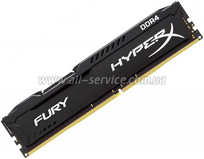 Память 4Gbx2 KINGSTON HyperX OC KIT DDR4 2400Mhz CL15 Fury Black (HX424C15FBK2/8)