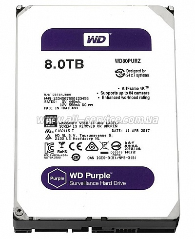 Винчестер 8TB WD SATA 6GB/S 128MB/PURPLE (WD80PURZ)