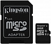 Карта памяти Kingston 16GB microSDHC C10 UHS-I + SD адаптер (SDCS/16GB)