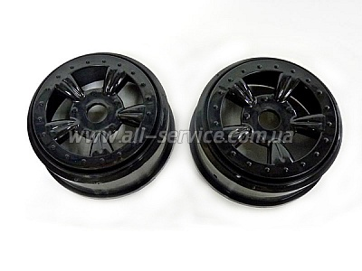 (8E132BL) Black Rims For Short Course Truck 2P