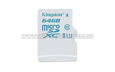 Карта памяти 64GB Kingston microSDXC C10 UHS-I U3 (SDCAC/64GBSP)