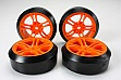 Team Magic E4D Mounted Drift Tire 45 Degree 5 Spoke Orange 4p