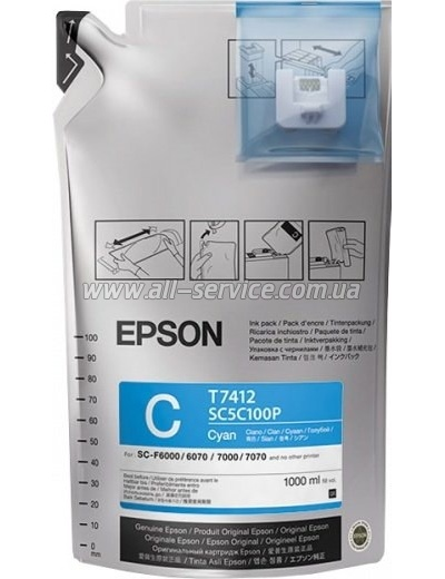 Чернила Epson SC-F6000/ 7000 UltraChrome DS Cyan (1Lx6packs) (C13T741200)