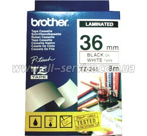 Лента Brother 36mm Laminated white, Print black TZ261