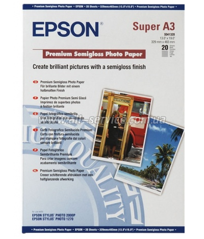 Бумага Epson A3+ Premium Semigloss Photo Paper, 20л. (C13S041328)