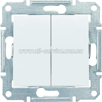 2-клавишный переключатель Schneider Electric Sedna 10A Белый (SDN0600121)