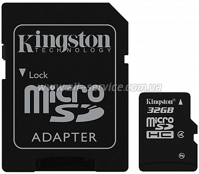Карта памяти 32GB KINGSTON microSD Class 4 + SD адаптер (SDC4/32GB)