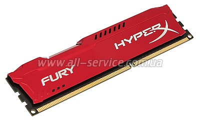 Память 8Gb KINGSTON HyperX OC DDR3, 1866Mhz CL10 Fury Red (HX318C10FR/8)