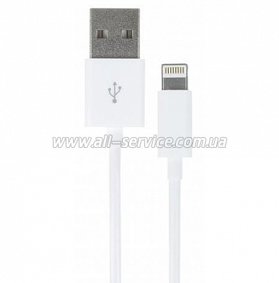 Кабель Kit USB 2.0 Lightning data MFI 1m, White (IP5USBDATWHKT)