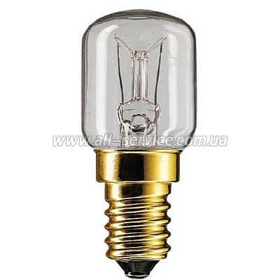 Лампа накаливания Philips E14 15W 230-240V T25 CL RF 1CT Appl